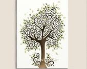 Modern Nature Inspired Summer Tree Art 5 x 7 Print, Green Leaves, Natural Earthy Wall Art (37)