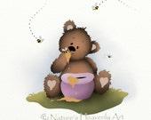 Pink Nursery Wall Art Print 5 x 7, Teddy Bear with Honey Pot and Bees, Childrens Print Baby Girls Nursery Art