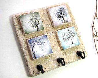 Whimsical Art Natural Tile Key Hook Hanger, Pastels, Wall Hook Key Holder, Tree Art Key Rack