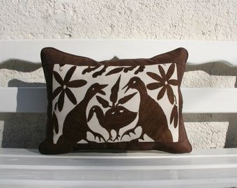 Was 98 now on clearance Expresso Brown Otomi Cushion with espresso framing-Ready to ship