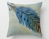 Tri-Color Feather Art Pillow Cover 16x16, 18x18 or 20x20
