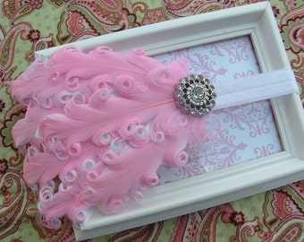Baby Girl Headband Pink and White Feather Headband with Rhinestone Accent