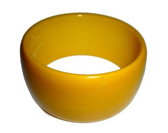 "Large Bakelite Bangle. Super Wide 1 3/8"". Tested & Guaranteed. 1940s USA. Sunny Yellow."