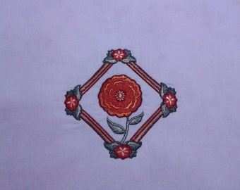 Machine Embroidered Marigold quilt square