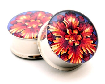 Filigree STYLE 2C Picture Plugs gauges - 16g, 14g, 12g, 10g, 8g, 6g, 4g, 2g, 0g, 00g, 7/16, 1/2, 9/16, 5/8, 3/4, 7/8, 1 inch