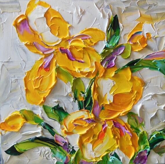 Original oil painting bright yellow iris by ironsideimpastos for Bright flower painting