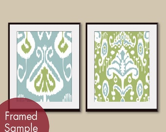 Ikat Patterns (series B) set of 2 - Art Prints (Featured in Slate Blue and Basil) Customizable Colors