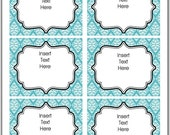 INSTANT DOWNLOAD-EDITABLE- Printable Aqua Damask Tags/ Stickers/ Labels Thank You, Buffet or Food Cards, Favor Tags( Digital File)