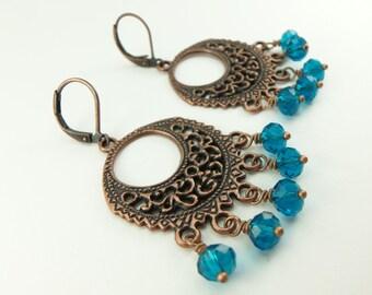 Teal Earrings Antiqued Copper Boho Chandelier Earrings Blue Leverback Filigree