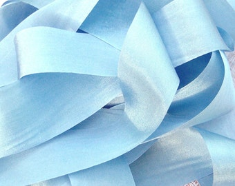 Pure Silk Ribbon 36mm  1 1/2 inch wide 5yds Pastel/Blue Color