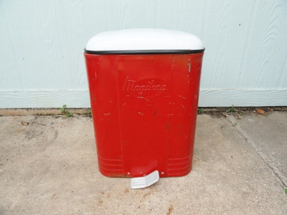 Vintage Red Step Waste Can Metal Garbage Trash By