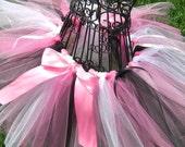 Halloween tutu- Barbie Costume-  Pink and White tutu- PARIS TUTU- Girls pink and black tutu- -  Pink and Black Birthday tutu- Pink Zebra