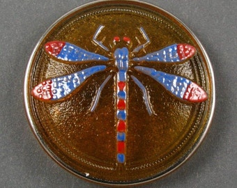 New Czech Dragonfly Glass Cabochon - Red/Blue on Amber Background with Metallic Edge