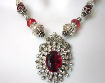Red Rhinestone Necklace Set Holiday Jewelry Assemblage Necklace with Earrings