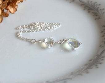 Crystal and silver drop necklace