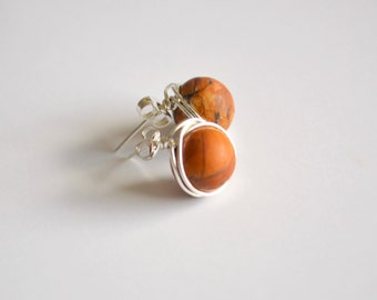 Red creek jasper and sterling silver wire wrapped post earrings