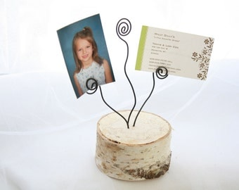 rustic birch wire photo card or wedding table number holder