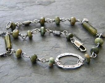 Green Opal Sterling Silver Anklet Green Grossular Garnet Ankle Bracelet Fine Sterling Silver Handmade Artisan Jewelry