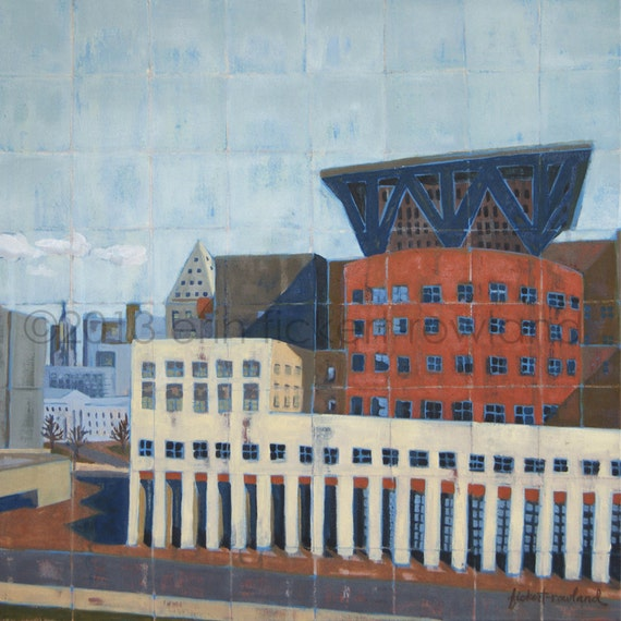Modern Abstract Cityscape Painting-DAM Public Library-Original Oil on Canvas by Erin Fickert-Rowland