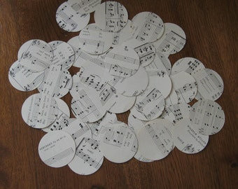 100 die cut circles from vintage music sheets