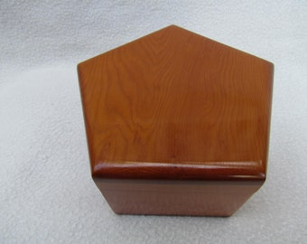 Yew Solid Wood Pentagon Jewelry, Trinket or Treasure Box