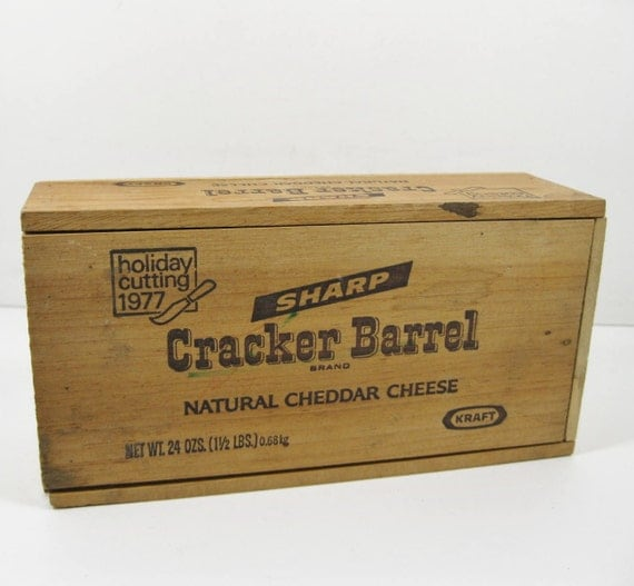 Cracker barrel wooden box with slide top holiday by for Is cracker barrel open on christmas day