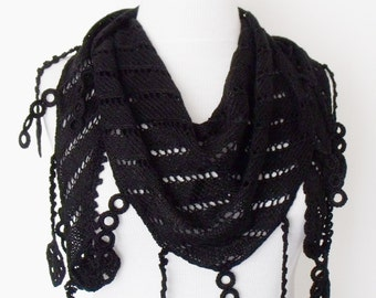 Black Cotton Scarf Shawl -Lace Edge-Ready for shipping