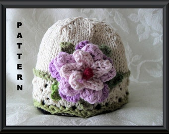 Knitted Hat Pattern Baby Hat Pattern Newborn Hat Pattern Infant Hat Pattern Baby Hat with flower Easter Hat Pattern: SCENTS OF LAVENDER