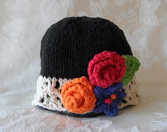 Baby Hat Knitting Hand Knitted Baby Hat Cotton Knitted Baby Hat Knit Hat with Flowers Baby Knitted Hat Knitted Lace Baby Hat Baby Rose Hat
