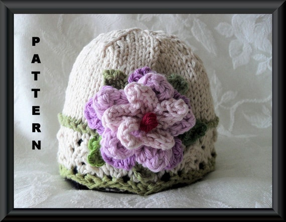Knitting Pattern For Lace Baby Hat : Knitting Pattern for Baby HatChildren by CottonPickings on Etsy