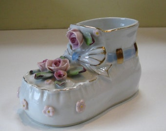 Vintage ceramic Baby Shoe Planter Mid Century Porcelain Fine China with Applied Flowers 1950s Nursery Decor Vase