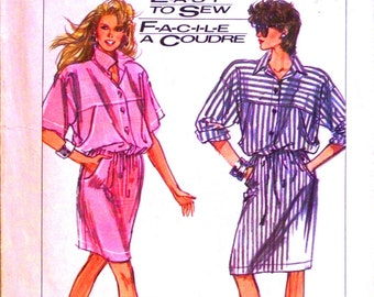 simplicity easy to sew pattern 8569 - surf club loose-fitting dress in two lengths - (1988) - UNCUT