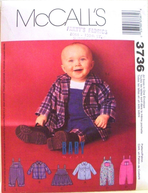 mccalls baby wear pattern 3736 - infants shirts, jumper, and overalls with snap crotch - (2002) - UNCUT