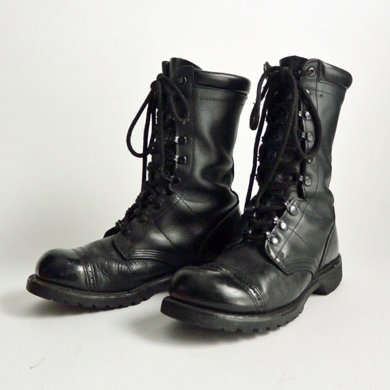 Vintage Military Lace Up Hipster Boots / CORCORAN Black