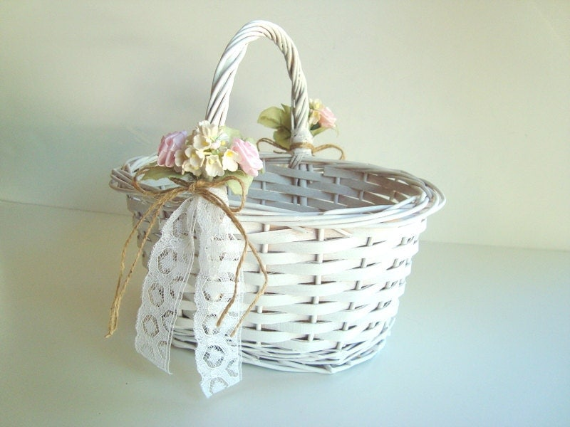 Rattan Flower Baskets : White wicker flower girl basket with vintage flowersrustic