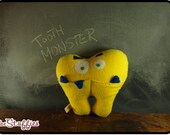 Tooth Monster - Yellow Tooth Fairy Pillow