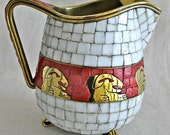 Salvador Teran Brass and Mosaic Tile Pitcher