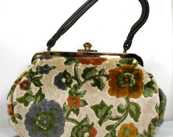 Vintage Leather Purse Tote Hand Bag Medium Tapestry Floral Embroidered carpet green blue yellow pink