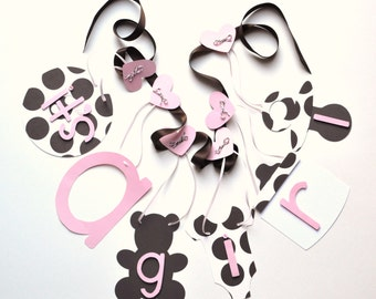It's a girl baby shower banner pink and brown polka dot decorations by ParkersPrints on Etsy