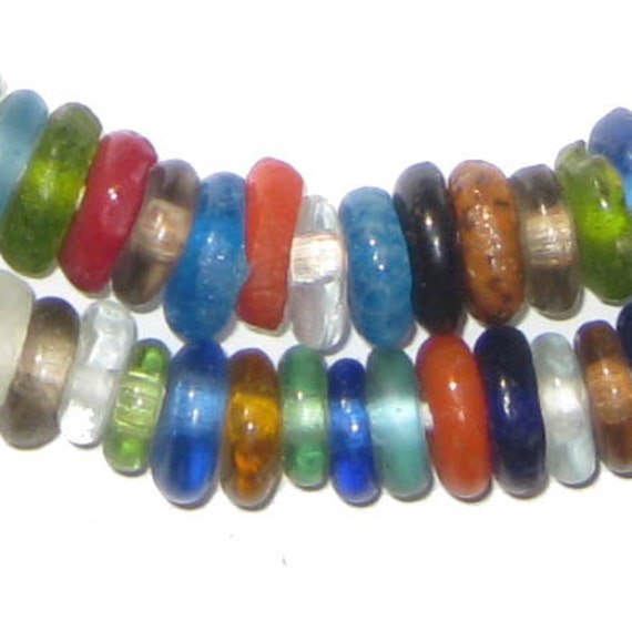 Bead Glass African Beads: 100 Recycled Glass Beads African Beads Medley Ghana Disk