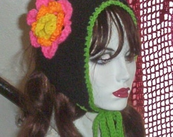 Hand Knit Flowered Coif Ponytail Hat Black Lime Pink  FREE US SHIPPING