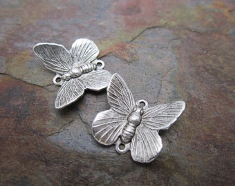 3 PC Antique Silver Butterfly Connector Charms
