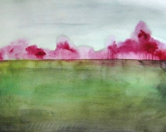 Grace - Landscape Painting - Art Watercolor - Trees  in Magenta - Large Print 16x20 - Poster - Wall Art - Wall Decor