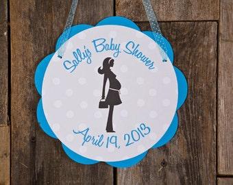 Baby Shower Door Sign - Baby Shower Decorations - Welcome Sign in Aqua Blue & Black Polka Dot - Boy Polka Dot Baby Shower Decorations