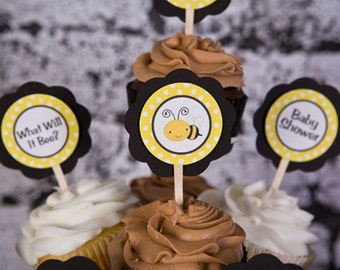 CUPCAKE TOPPERS - Bee Themed Baby Shower Decorations - Gender Neutral Party in Yellow and Black