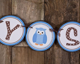 Owl BABY SHOWER Banner - It's a Boy Baby Shower Banner - Owl Theme Baby Shower Decorations in Blue and Brown