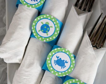 Under The Sea Birthday Party - Napkin Rings - Silverware Wraps - Preppy Ocean Theme Birthday & Baby Shower Decorations - Blue and Green (12)