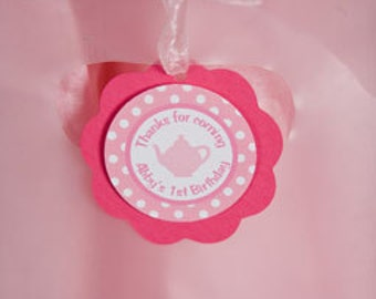 Tea Party Birthday FAVOR TAGS in Hot & Light Pink Happy Birthday Party Decorations - Tea Party Birthday Party - Teapot Birthday