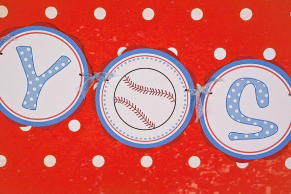 items similar to baseball baby shower banner baby shower decorations baseball theme baby shower in blue and red on etsy