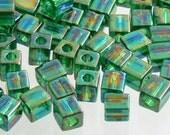 20% OFF Rainbow Luster Green, Cube Miyuki Shoji Beads 10-Grams 4mm Glass Squares
